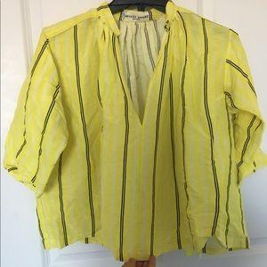 Apiece Apart Agata Stripe Shirred Blouse